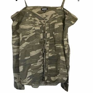Express Camo Print Off the Shoulder Button Down